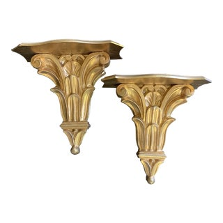 Gold Italian Wall Brackets- a Pair For Sale