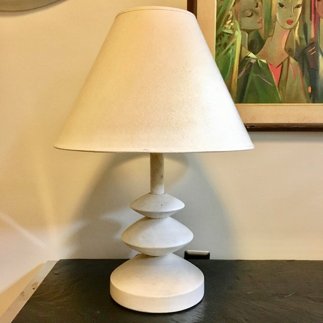 White Jacques Grange Sculptural Plaster Lamp After Giacometti For Sale - Image 8 of 9