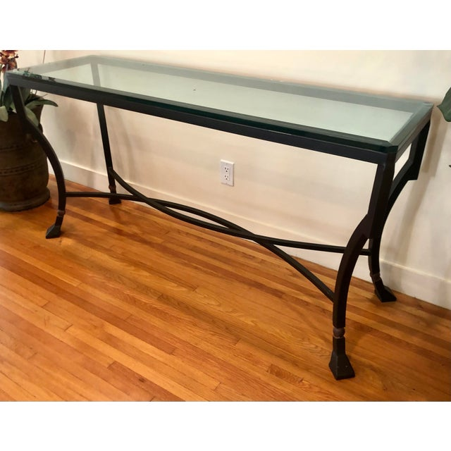 1990s Kreiss Luxury Home Iron & Glass Palomino Console Table For Sale - Image 5 of 5