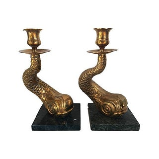 Brass Dolphin Candlesticks - A Pair For Sale