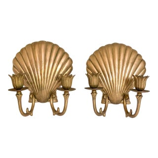 Nautical Brass Scallop Seashell Wall Sconces - a Pair For Sale