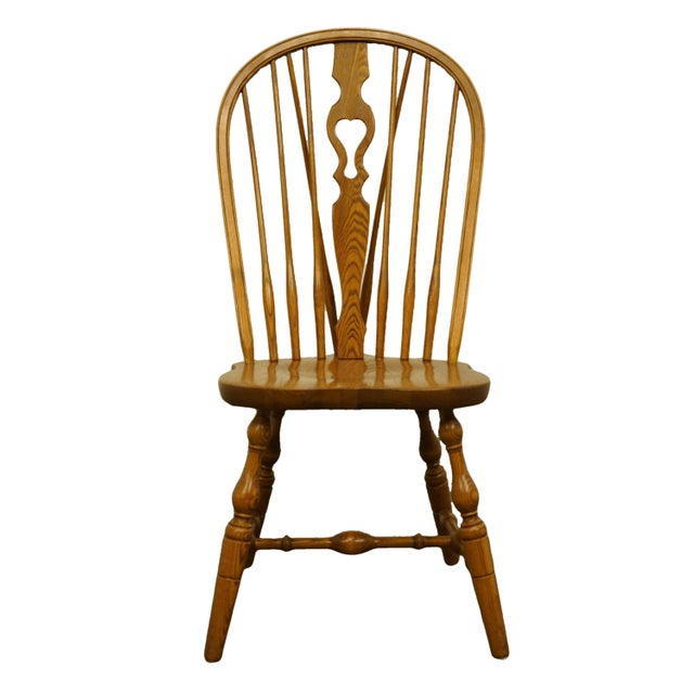 Late 20th Century Vintage S. Bent Bros. Grand Rapids Solid Oak Country Style Dining Side Chair For Sale - Image 11 of 11