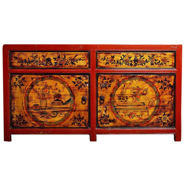 Mongolian Late 1800s Hand-Painted Red Lacquer Cabinet with Black and Gold Décor For Sale
