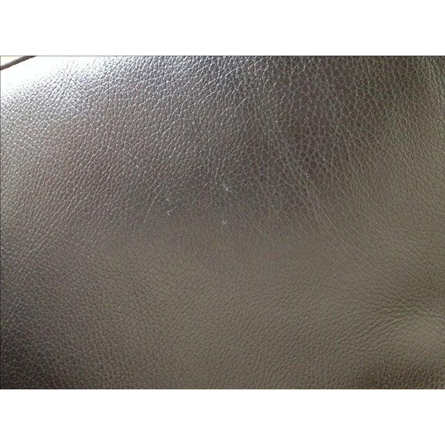 Verdesign Dark Grey Leather Modern Sofa & Ottoman - Image 9 of 11