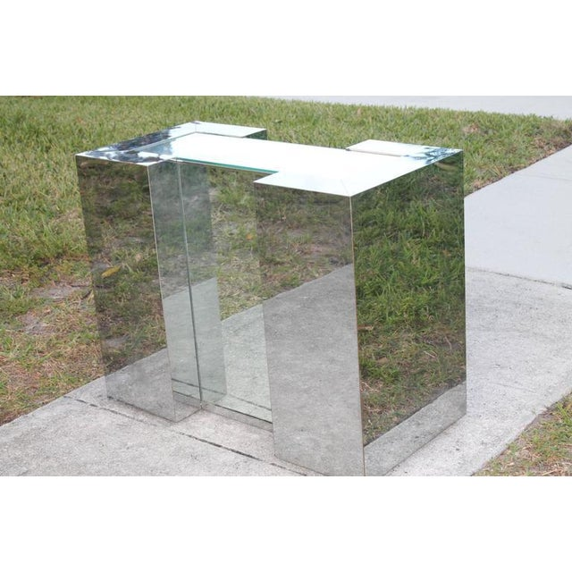 Hollywood Regency Milo Baughman Style Mirrored Chrome Dining Table Base For Sale - Image 3 of 12