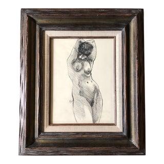 Original Vintage Charcoal Female Nude Drawing Vintage Frame For Sale