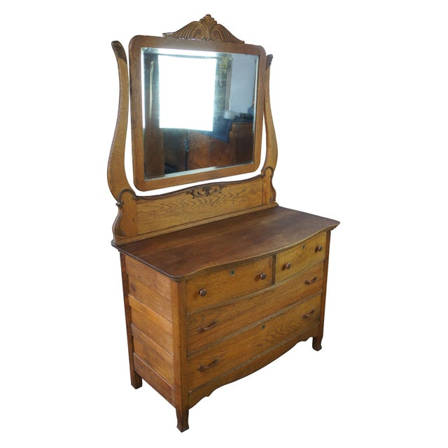 Traditional Late Victorian Antique Serpentine Oak Dresser & Carved Wishbone Mirror For Sale - Image 3 of 13