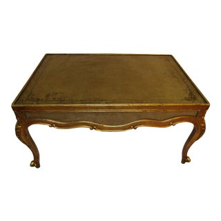 Baroque Theodore Alexander Gold Coffee Table With Glass Insert Top For Sale