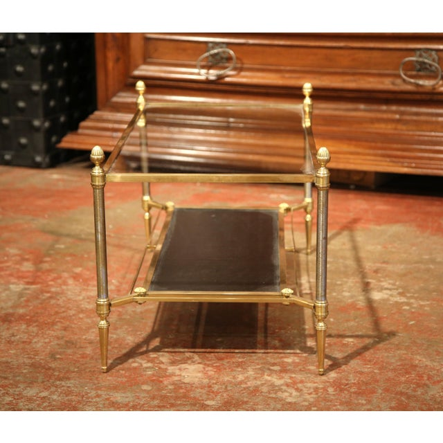 Mid-20th Century French Brass Steel and Leather Coffee Table from Maison Jansen - Image 7 of 9