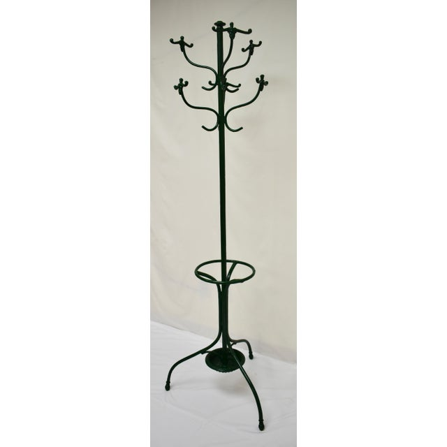 Vintage Green Cast and Wrought Iron Hall Tree For Sale - Image 4 of 9