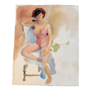 Original Vintage Female Watercolor Study Unfinished Swimsuit For Sale