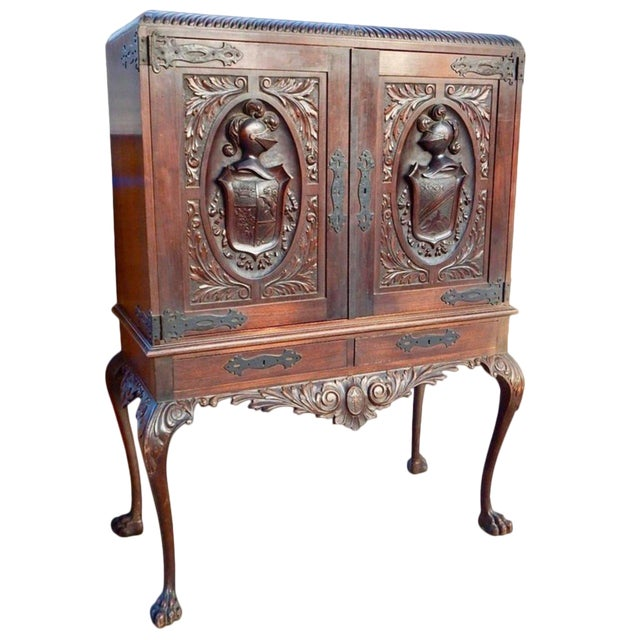 1920s Spanish Colonial Heraldic Theme Storage Cabinet For Sale