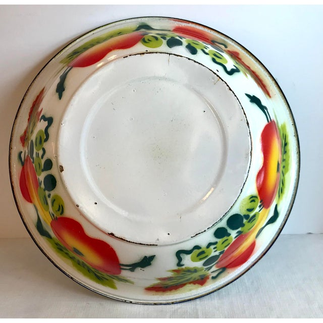 Vintage Mid Century Enamel Vegetable Bowl For Sale In Dallas - Image 6 of 7