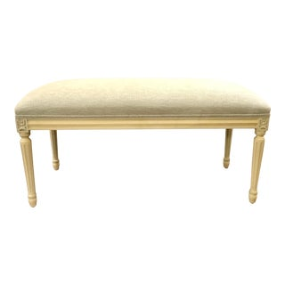 French Style Carved Ivory Wood Bench For Sale