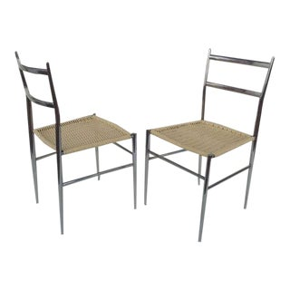 A Pair of Chrome Chairs Attributed to Gio Ponti For Sale