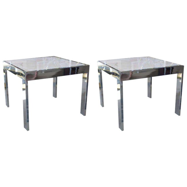 Marble & Steel Side Tables - A Pair For Sale