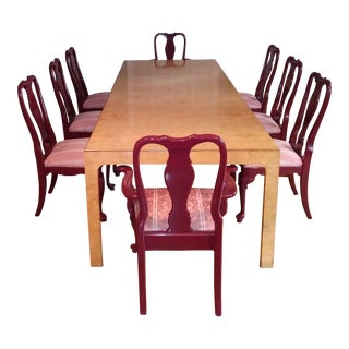 Henredon Walnut Parsons Table / Dining Set For Sale