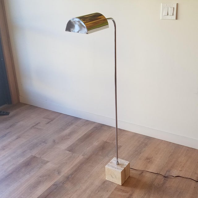 1970s Fratelli Mannelli Travertine and Chrome Floor Lamp for Raymor For Sale - Image 13 of 13