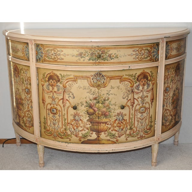 Impressive French Painted Demilune Cabinet c.1940 Beautifully hand painted floral scenes surround the single drawer...