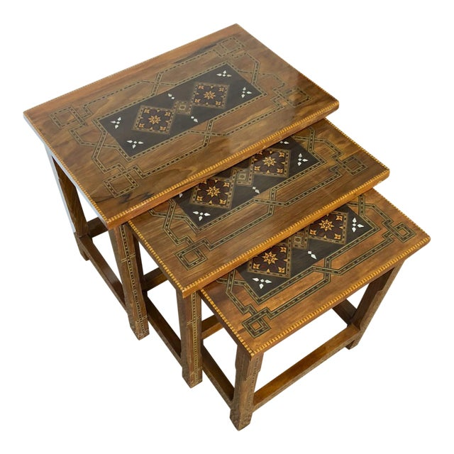 1990s Mosaic Inlay Syrian Walnut Nesting Tables - Set of 3 For Sale