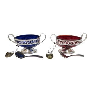 Vintage Mid Century Modern William Adams Chrome and Glass Sauce Boats, C1950 - A Pair For Sale
