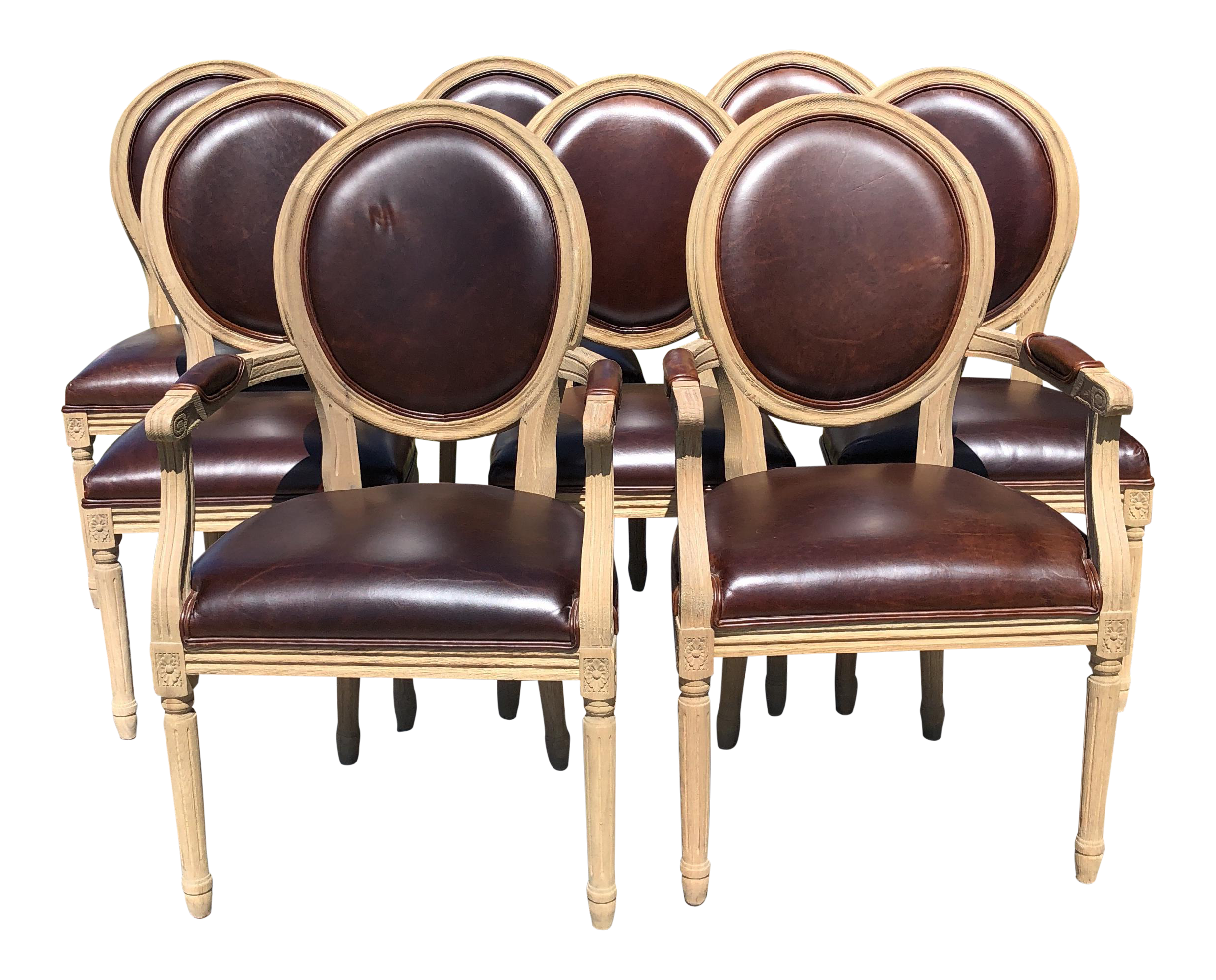 Restoration Hardware Vintage French Round Dining Chairs   Set Of 8