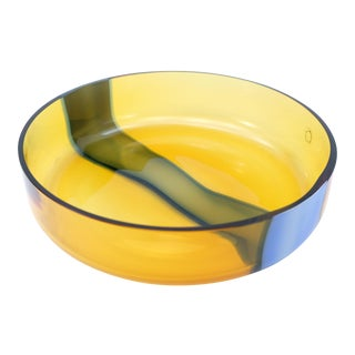 Amber & Blue Murano Glass Bowl by v. Nason & C. Of Italy For Sale