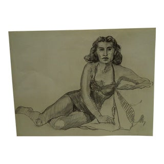 "1955 Mid-Century Modern Original Drawing on Paper, ""Laying in Lingerie"" by Tom Sturges Jr."