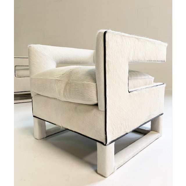 Ivory 20th Century Modern Cube Lounge Chairs in Brazilian Cowhide - a Pair For Sale - Image 8 of 12