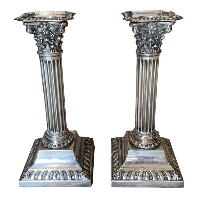Antique Silverplate Corinthian Column Candlesticks- a Pair For Sale