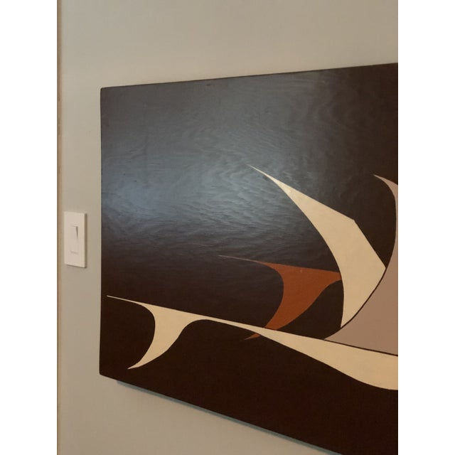 Mid-Century Modern Large Midcentury Painting of Flying Geese For Sale - Image 3 of 11