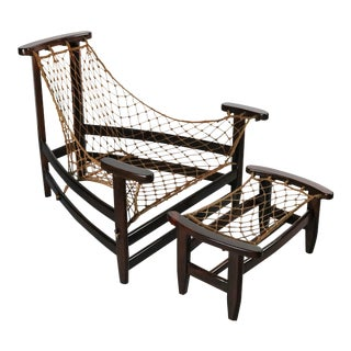 Jean Gillon Lounge Chair & Ottoman in Brazilian Rosewood, France For Sale