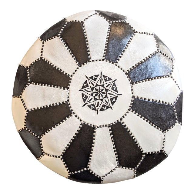 Black and White Moroccan Leather Ottoman For Sale