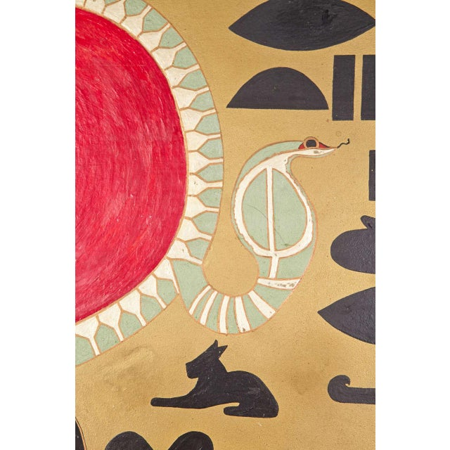 Red Art Deco Egyptian Themed Art Panels Triptych Book of the Dead Symbolism For Sale - Image 8 of 11