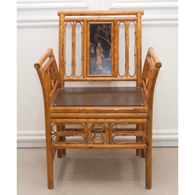 Wood 1980s Maitland Smith Bamboo Chinoiserie Asian Chairs - a Pair For Sale - Image 7 of 11