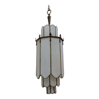 Large Antique Milk Glass Layered Chandelier For Sale