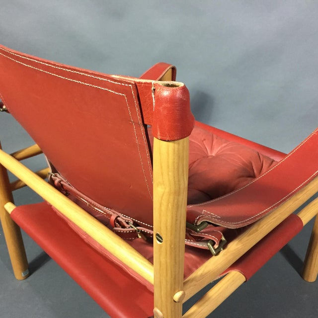 Animal Skin Pair of Arne Norell Red Leather Sirocco Chairs For Sale - Image 7 of 11