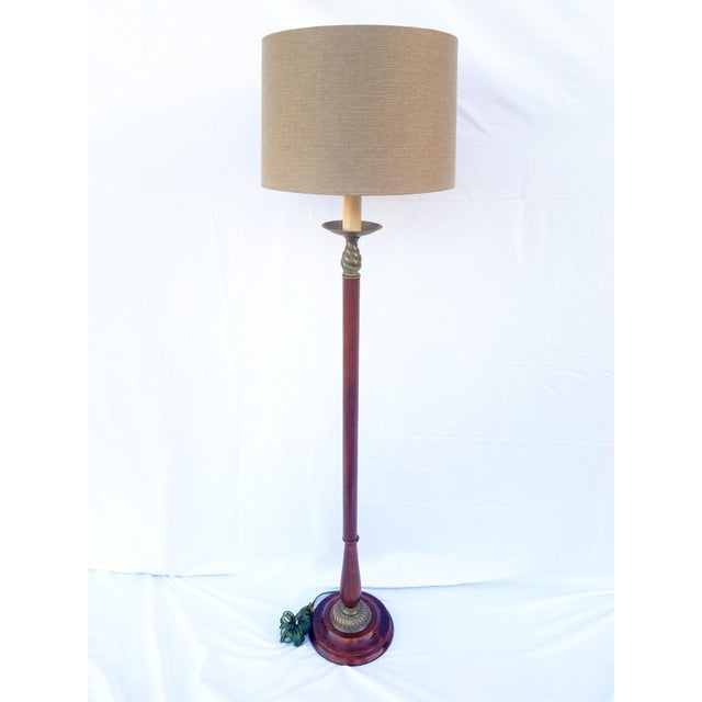Gold Vintage Mahogany & Brass Floor Lamp For Sale - Image 8 of 8