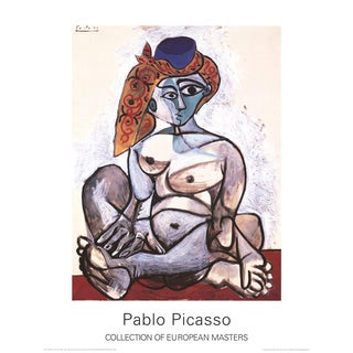 """Pablo Picasso Woman With Turban 35.5"""" X 27.5"""" Poster Cubism Red, Brown Nude, Woman For Sale"""