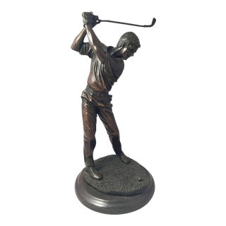 French Figural Bronze of a Golfer on a Marble Base For Sale