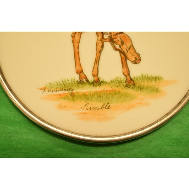 Abercrombie & Fitch Hand Painted Equestrian Sterling Silver Coasters - Set of 5 - Image 8 of 11