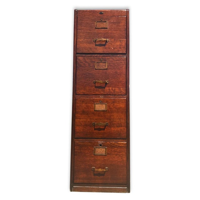 Antique Mission Oak 4 Drawer Office Library File Cabinet For Sale - Image 4 of 8