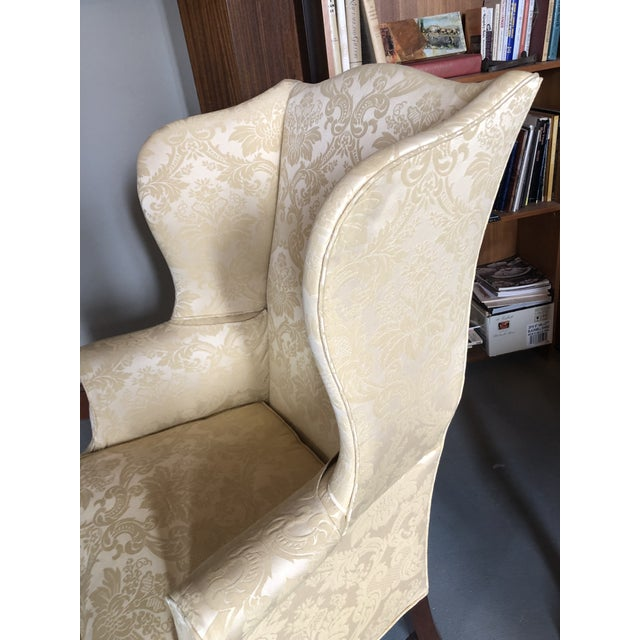 American Federal Style Yellow Jacquard Wingback Chair With Down Cushion For Sale In Minneapolis - Image 6 of 13