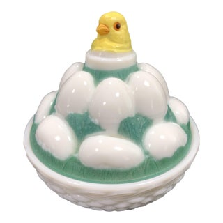 Westmoreland Hand Painted Milk Glass Chick on a Basket of Eggs Covered Dish For Sale