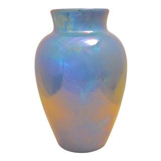 1920s Delft Blue Lusterware Vase For Sale