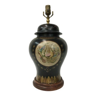 Black Porcelain Temple Jar Lamp For Sale