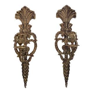 Antique Bronze Art Nouveau Candle Wall Sconces - a Pair For Sale