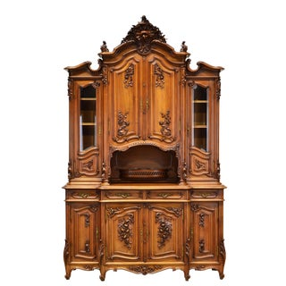 French Louis XV Carved Walnut Buffet Cabinet For Sale