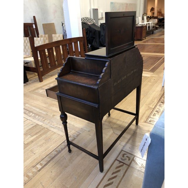 Antique Wood Writing Table + Vanity For Sale In San Francisco - Image 6 of 13