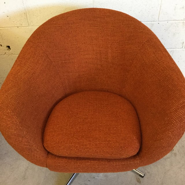 Textile Mid Century Orange Upholster Barrel Swivel Chairs by Burris Industries For Sale - Image 7 of 11